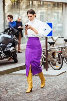 Purple skirt works perfect with yellow boots | Spring fashion | Girlfriend is Better