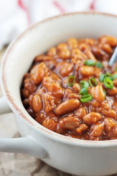 These Bacon Baked Beans are made from scratch in the slow cooker.   Countryside Cravings