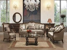Royal style 3 Piece Living Room sofa Set with Accent Pillows ...
