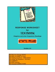 FREE KWL+ chart with added features:  turn headings into questions to answer and more. A two page handout to encourage thorough and reflective reading of informational text, such as a textbook, student or adult news magazine article, newspaper story and more.
