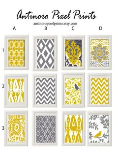 Yellow Grey Wall Art Prints -Pick Any (3) Any Color - 8x10 Prints -  Dark Yellow Greys White  (UNFRAMED)