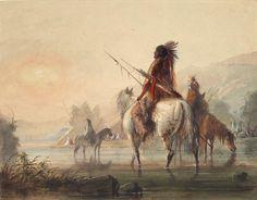 Encampment of Crow Indians / Alfred Jacob Miller - watercolor kp Jacob Miller, Crow Indians, Mountain Man, Dancers, Native American, Ethnic, Museum, Watercolor, Artist