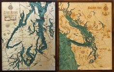 According to their website, Below the Boat is the result of an unabashed love for an often under-appreciated world that lies just beneath the surface. Made in Bellingham, WA by Robbie and Kara Johnson, these bathymetric charts (the underwater equivalent of a topographic map) are laser-cut into sheets of Baltic Birch, hand-colored and then glued together to give them depth.