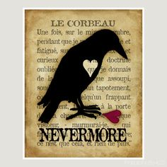 Le Corbeau, 8x10 digital print, the raven, nevermore, Poe, Halloween, macabre, goth art