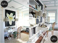 IHeart Organizing: A Storied Style: Home Office / Guest Room Makeover Part 2 - The Reveal! ~ love the big, bold painting!!! + closet wallpaper