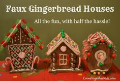 Faux Gingerbread Houses - no messy royal icing! Really clever way to make gingerbread houses with kids Microwave Puff Paint (Faux Icing) Recipe included Cardboard Gingerbread House, Gingerbread House Parties, Christmas Gingerbread, Winter Christmas, Christmas Holidays, Gingerbread Houses, Christmas Ideas, Gingerbread Decorations, Christmas Projects