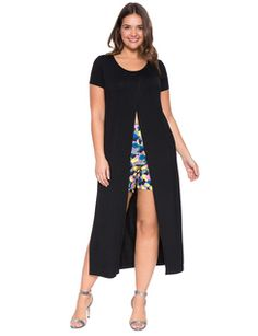 Cross Front Maxi Tee Black from Eloquii is ADORABLE and I want one.