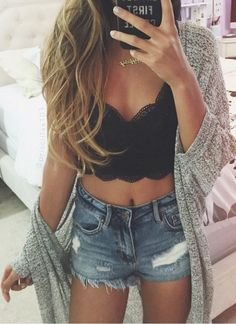 Perfect summer outfit. Teen fashion. Tumblr outfit. Highwaisted jean shorts. Black lace bralette. And cardigan.