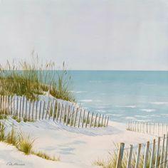Serene Beach Dune Fence and Ocean Art