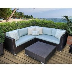 Skye Vienna 3 Piece Deep Seating Group with Cushions Fabric: Eggshell by Patio Heaven. $2797.00. PH-VEN5A Fabric: Eggshell Features: -Sturdy powder-coated aluminum frame.-All-weather and UV resistant resin wicker.-Non-toxic 100pct recyclable material.-Virtually maintenance-free - hose off to clean, machine wash or spot clean cushions.-Extra plush cushions made in the USA.-Seat cushion are made with high density foam with dacron wrap for extra comfort. Includes: -Set includes 1 l...