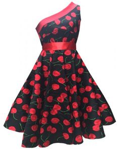 Vintage One-Shoulder Sleeveless Cherry Printed Flare Dress For Women
