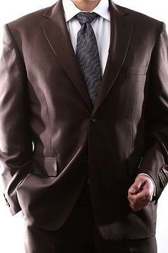 MENS SINGLE BREASTED 2 BUTTON BROWN DRESS SUIT SIZE 42S PL-60212N-208-BRO