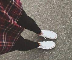 red + black + white flannel, black leggings & white converse