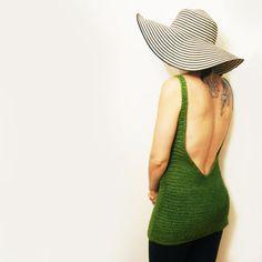 crochet backless tank top. crochet tunic - exposed back. low back. deep V. V neck - made to order on Etsy, $165.00