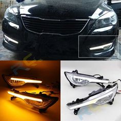 136.00$  Watch now - http://ali00d.worldwells.pw/go.php?t=32772493017 - 12V Car LED DRL For KIA Cadenza K7 VG 2011 2012 With Yellow Turn Signal Xenon White DRL Fog Lamp Cover Daytime Running Light Kit 136.00$