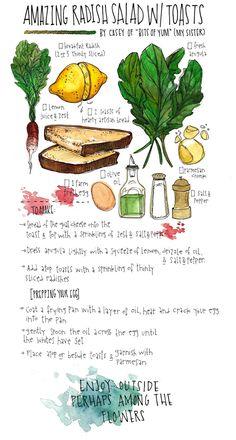 Radish salad w/toast (olive oil, salt & pepper, egg, lemon juice, goat cheese, parmesan, radishes + add avocado?)