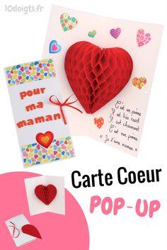 Une sublime carte pop-up à fabriquer et à offrir en cadeau pour la fête des mères. En ouvrant la carte un cœur 3D géant en papier alvéolé apparaît. Une super activité manuelle pour les enfants ! #DIY