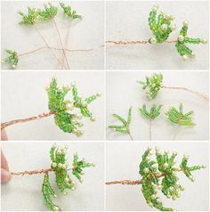 Making a Mini Three-Dimensional Christmas Tree with Glass Beads and Brass Wire - Her Crochet Beaded Crafts, Wire Crafts, Christmas Projects, Christmas Diy, Christmas Crafts, Beaded Christmas Ornaments, Christmas Jewelry, Wire Tree Sculpture, French Beaded Flowers