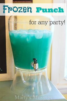 Blue Punch:   1 large container of blue Hawaiian punch  1 2-liter Sprite or Ginger Ale 2 cups pineapple juice  Instructions Mix together all ingredients in a punch bowl or dispenser. Serve cold with ice cubes.  Notes:  The more pineapple juice you add the less teal color the punch will have. If you want it very blue just leave out the pineapple juice.