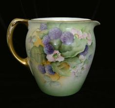 CHEERFUL BERRIES & BLOSSOMS Limoges Cider Pitcher