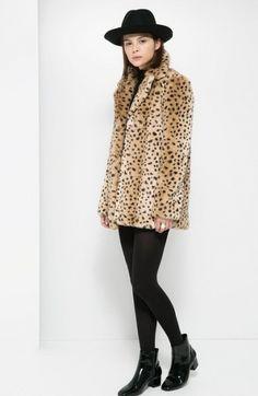 Leopard faux fur coat.