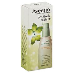 Aveeno Positively Radiant Daily Moisturizer Broad Spectrum SPF 30 With Active Naturals® Total Soy Complex and natural light diffusers, it helps improve the look of brown spots, leaving your skin looking toned and glowing.