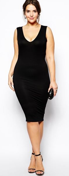 Plus Size Bodycon Dress With V-Neck (sizes 12 - 24)