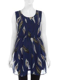 Praslin Chiffonkleid mit Nieten  Große Größen-Übergröße-Plus Size-Kleid- Dress