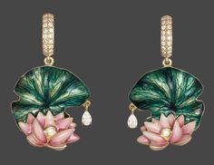 "Ilgiz F ""Lotuses"" earrings: 18K yellow gold, stoving enamel, diamonds."