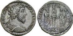 A provincial coin of Ephesus showing Marcus Aurelius and Lucius Verus flanking the cult statue