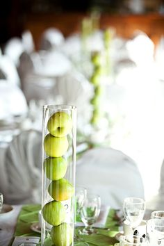 simple apple themed centrepieces