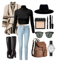 """""""From home -> To work"""" by slavenka555 ❤ liked on Polyvore featuring Karen Millen, Frame Denim, Burberry, Stila, NARS Cosmetics, Ray-Ban, H&M, Olivia Burton and Zimmermann"""