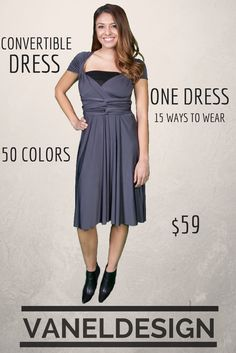 Dark Grey Convertible Dress One Dress, Fifteen to Wrap Change the Wrap and Change the Style Halter, Sleeves, Strapless...... Bridesmaids Dress, Prom Dress, Party Dress Long $69  Short $59 www.vaneldesign.com  Follow Facebook for Promotions www.Facebook.com/vaneldesign