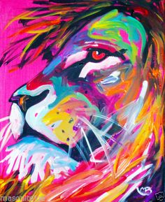 Abstract Original Colorful Canvas Painting 8x10 in Lion Face Marc Broadway | eBay