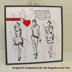 Stamped card with Stampinback.nl stamps, Fashionista sheet 146 ...Designed for Stampinback.nl by Alie Hoogenboezem-de Vries