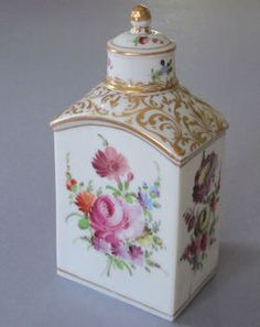 "Antique Dresden Hand Painted Porcelain Tea Caddy With Flower Bouquets And Gilt Scrolls And Trim - Maker's Mark, In Blue, Over Glaze ""Germany"" And ""752/3"""