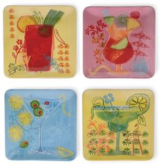 Fruit Cocktail Ceramic Snack Plate Set of 4 by Boston International #BostonInternational