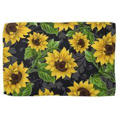 Vintage sunflower pattern towel