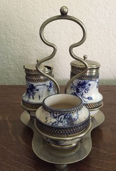 Flow Blue Cruet Set-Beautiful