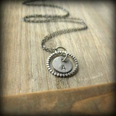 Personalized, hand-stamped sterling silver initial charm necklace