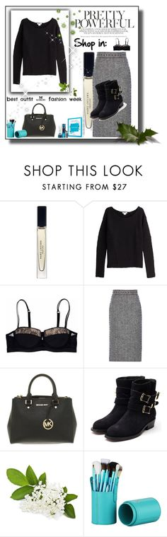 """""""grey skirt set 2"""" by only-young-stars ❤ liked on Polyvore featuring Marc Jacobs, Helmut Lang, Valentino, Michael Kors and Rupert Sanderson"""