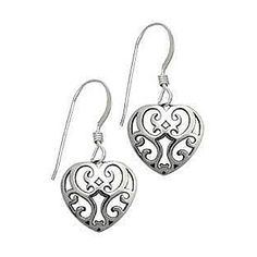 Mom will love these beautiful filigree heart earrings.  Made of sterling silver.