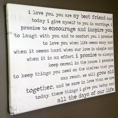 Love the idea of using vows as art.