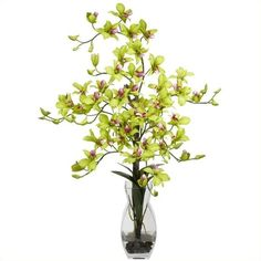 Nearly Natural Dendrobium with Vase Silk Flower Arrangement ($90) ❤ liked on Polyvore featuring home, home decor, floral decor, flower arrangement, artificial floral arrangement, faux floral arrangement, silk floral arrangement and floral arrangement