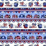 Holiday Inspirations Patriotic Fabric- Patriotic Bug Stripe Glitter