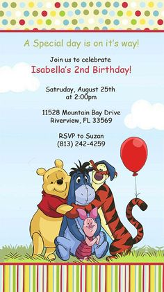 Winnie The Pooh Birthday Invitation Template Http