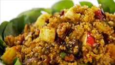 Giada De Laurentiis - Quinoa, Roasted Eggplant and Apple Salad with Cumin Vinaigrette http://www.giadadelaurentiis.com/recipes/1050/quinoa-roasted-eggplant-and-apple-salad-with-cumin-vinaigrette