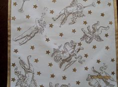 "Christmas Table Runner white with Gold Angels  and Stars  72"" x 13 1/4"""
