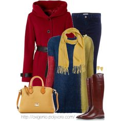 Yellow, Navy & Red.