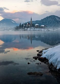 Winter Scene  --  photo by Aleš Komovec, Church of Mary's Assumption, island in Lake Bled, Slovenia